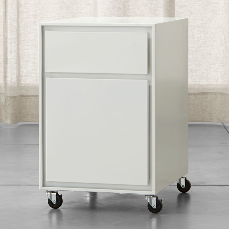 Pilsen White Two Drawer File Cabinet   Reviews   Crate and Barrel
