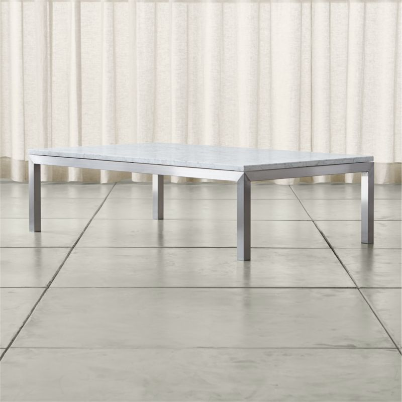 Parsons White Marble Top Stainless Steel Base 60x36 Large