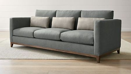 Sofas  Couches and Loveseats on Sale   Crate and Barrel Taraval 3 Seat Oak Wood Base Sofa