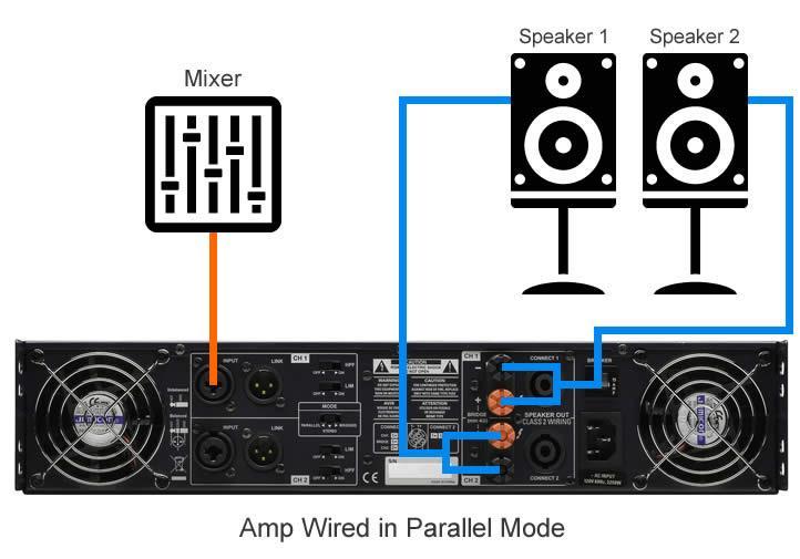 Bridge Speakers Parallel Connection