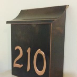 Hand Made Flush Mount Patina Copper Mailbox With House Numbers by     Flush Mount Copper Mailbox With 3 House Numbers