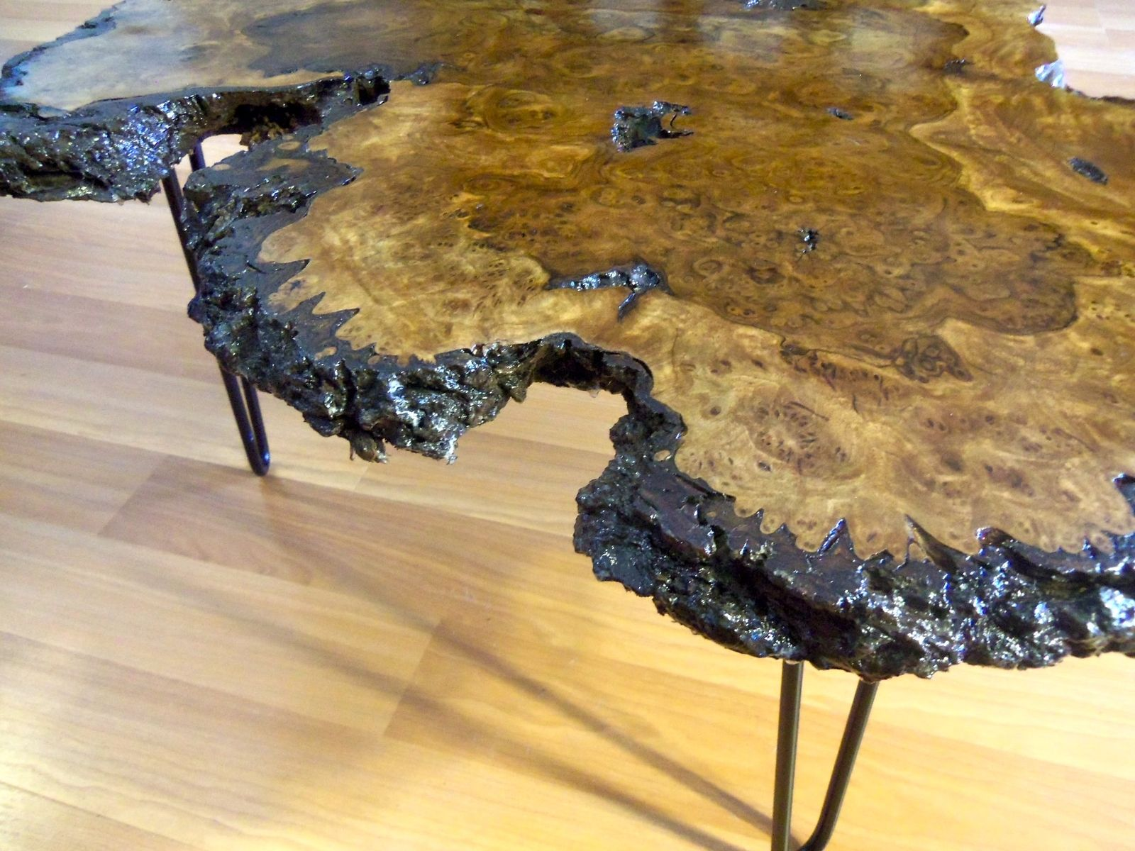 Hand Made Live Edge Black Walnut Burl Coffee Table By Ozma