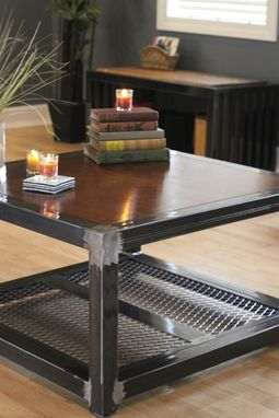 Hand Made Steel And Wood Coffee Table By Industrial
