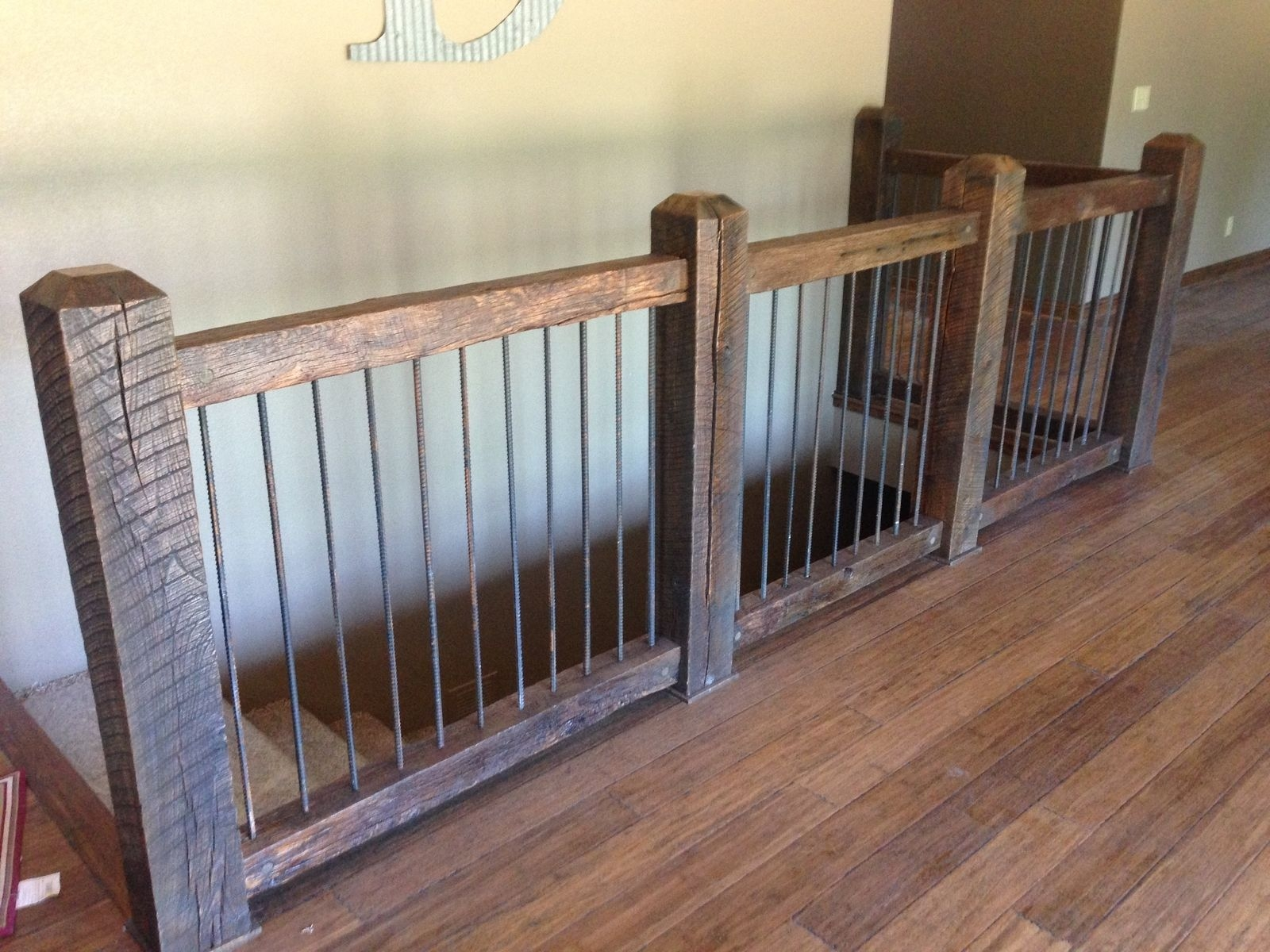 Custom Reclaimed Stair Railings By Stone Creek Cabinetry Llc   Custom Wood Stair Railing   Natural Wood   Barn Beam   Metal Spindle   Attic Stair   Rail