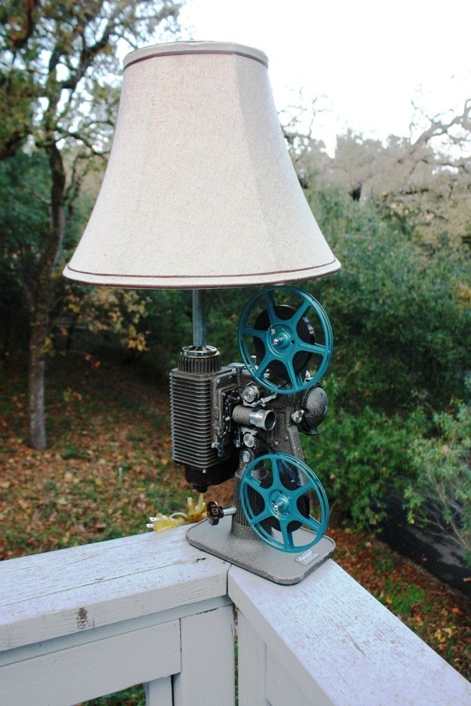 Custom Made Vintage 8mm Film Projector Table Lamp By Urban
