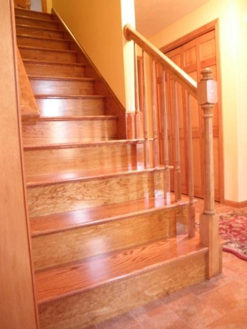 Custom Made Red Oak Stairs By Broughton Woodworks   Custom Oak Stair Treads