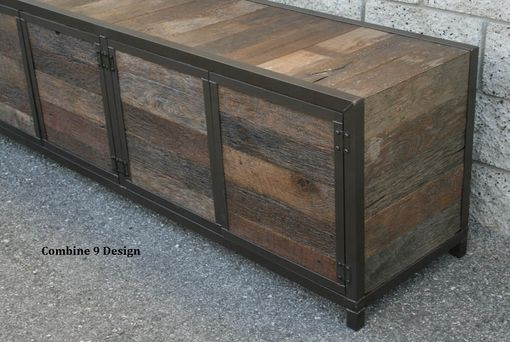 Buy A Hand Made Rustic Industrial Media Console Credenza