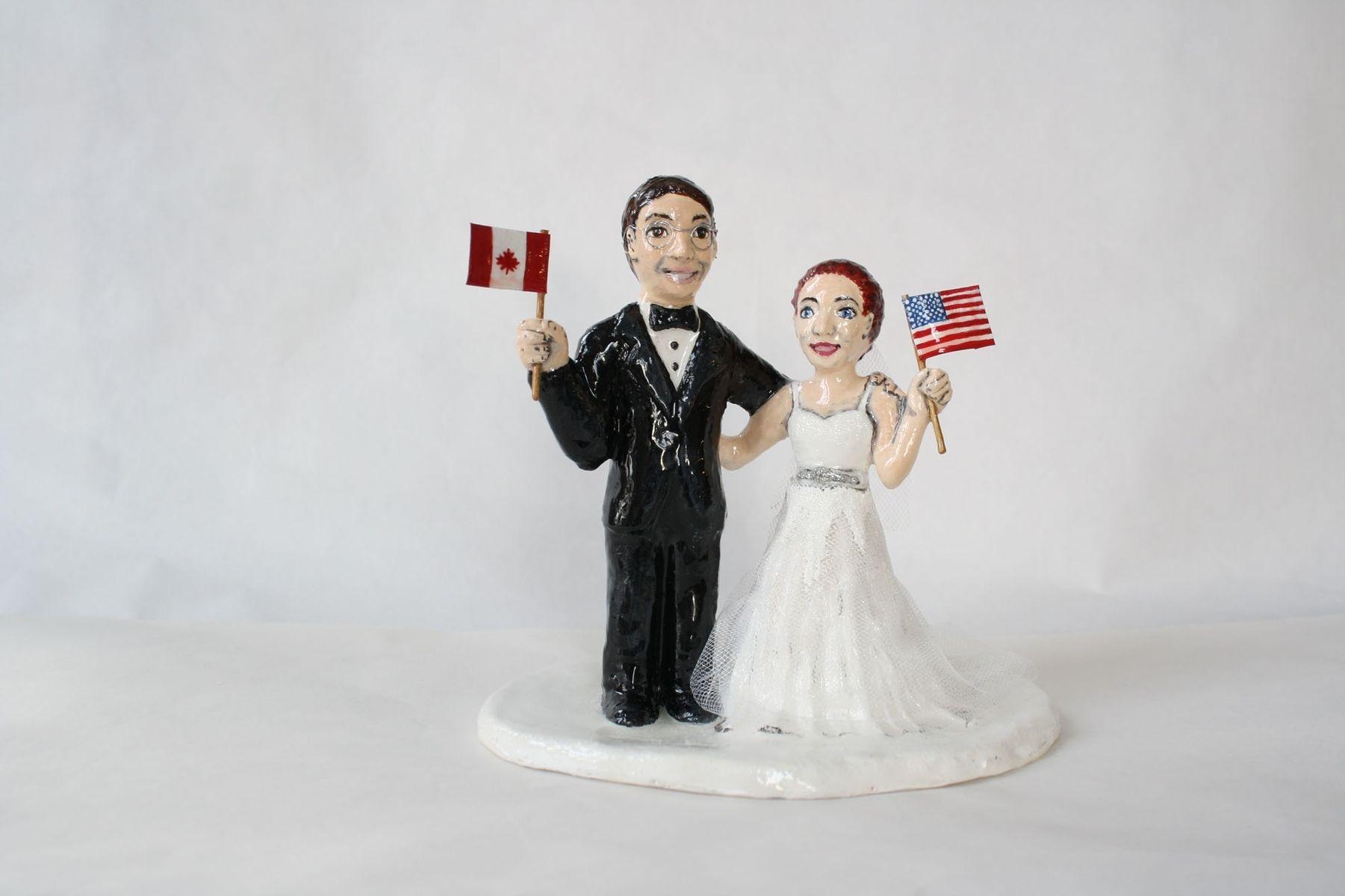 Custom International Couple Cake Topper By Sara E Lynch