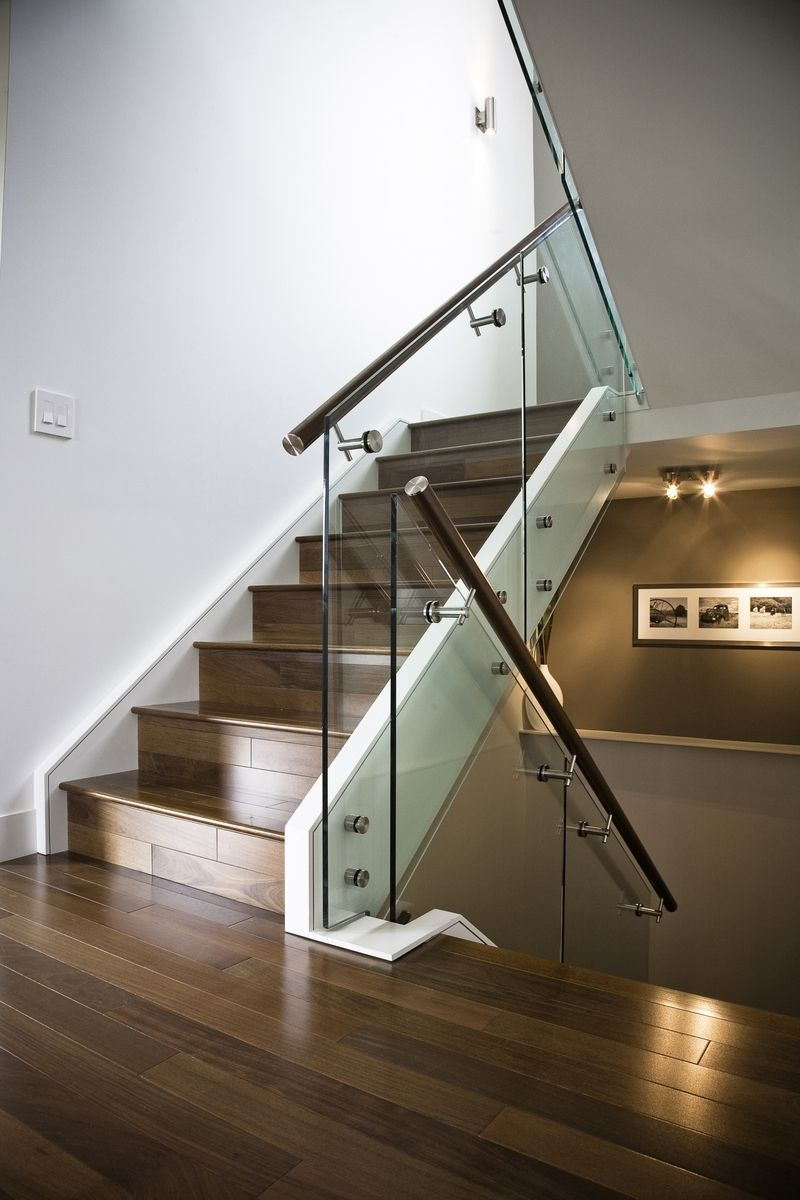 Hand Made Maple Stair With Glass Railing And Stainless Steel   Stainless Steel Staircase Railing With Glass   Infill   Custom Glass   Indoor   Panel   Modern