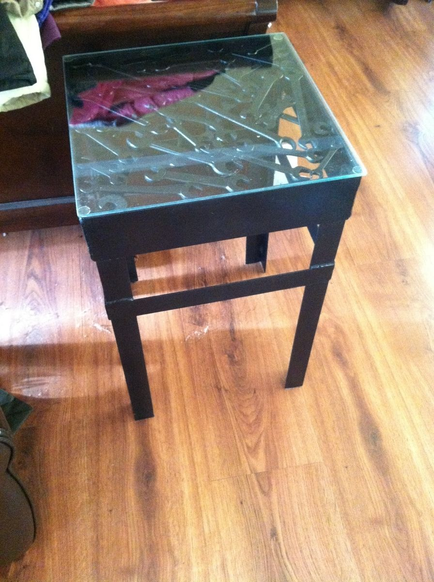 Custom Metal Side Table With Wrenches And Tools For Table
