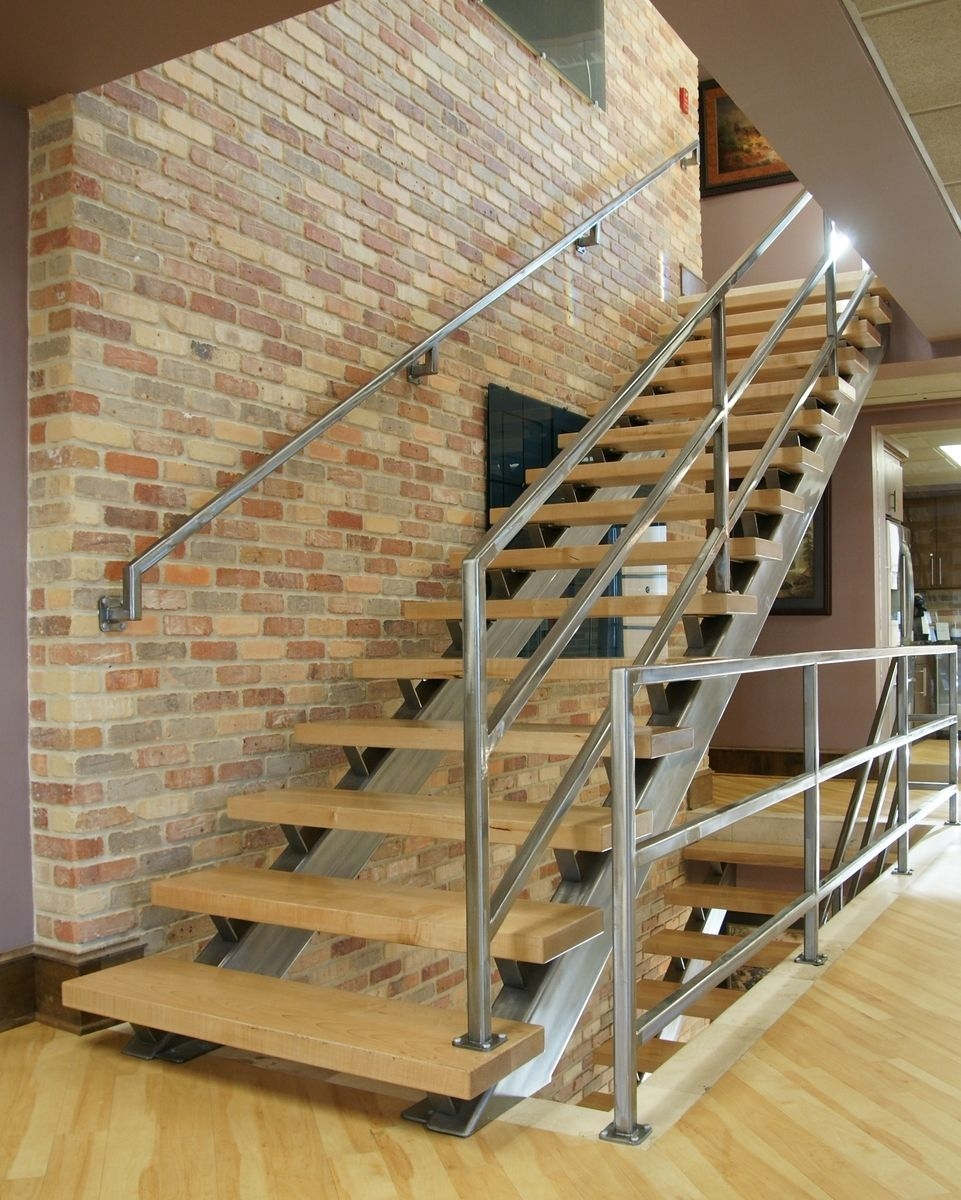 Hand Crafted Modern Steel And Wood Staircase By Kitchen Kandy | Steel And Wood Staircase | Glass | Custom | Handrail | Contemporary | Inside
