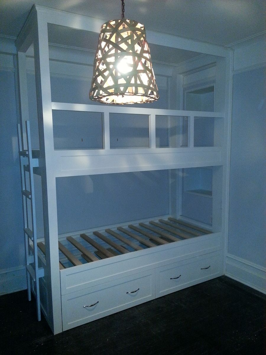 Hand Made Twin Over Twin Built In Bunk Bed With Pop Up