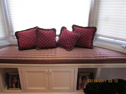 Hand Crafted Bay Window Seat Cushion With Matching Pillows