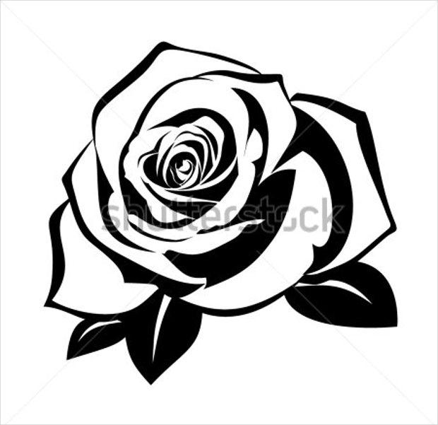 Black And White Rose Stencil