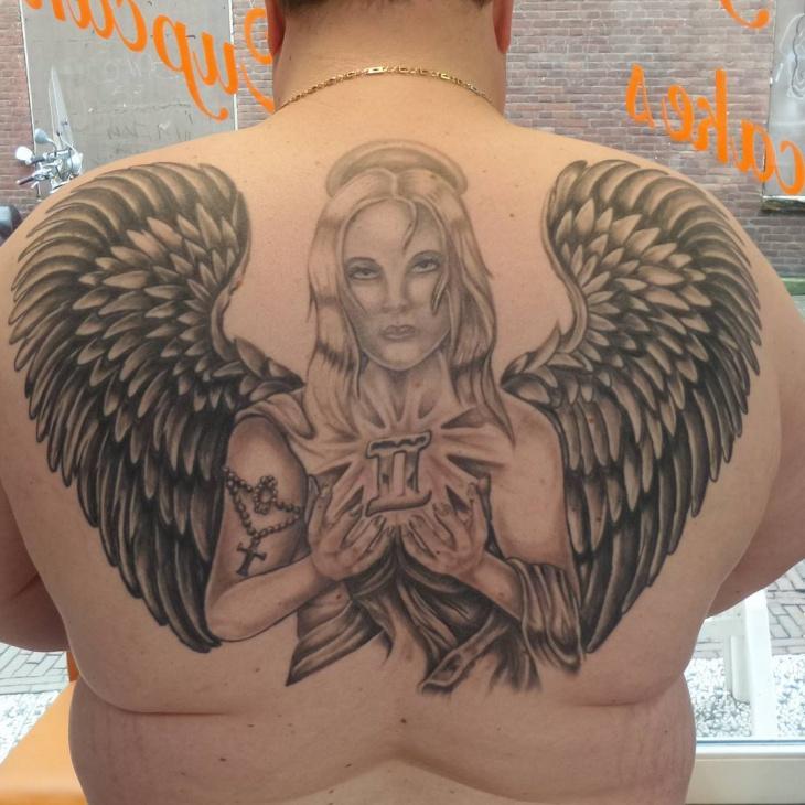 Tattoo Neck Fallen Angel Wing