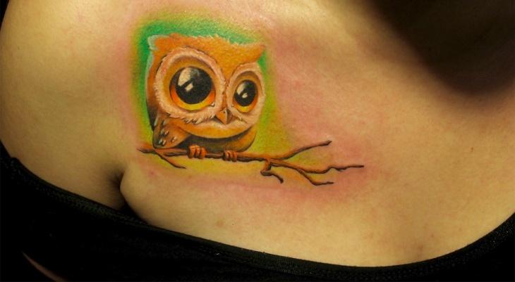 Men Owl Back Tattoo