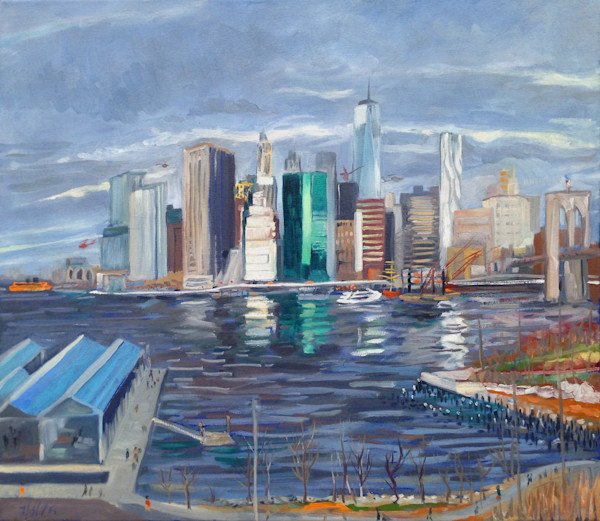 Landscape Paintings by Wet Paint NYC Artists Available for Purchase     The FiDi from Brooklyn Painting by Wet Paint NYC Artist Michael Serafino