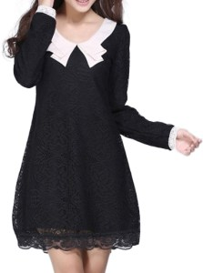 Babydoll Style Mini Dress   Black Lace   White Peter Pan Collar     Babydoll Style Mini Dress   Black Lace   White Collar   Long Sleeve