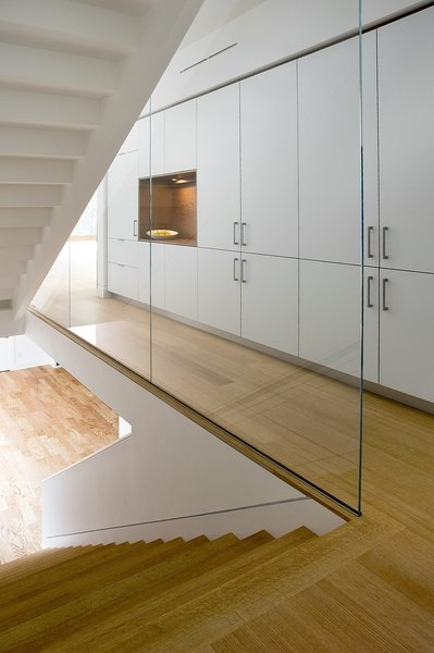 Photo 1 Of 104 In Staircase Wood Glass Photos From A Modern Green | Glass Staircase Panels Near Me | Modern Staircase Railing | Tempered Glass | Wood | Stair Balustrade | Stair Case