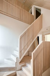 Best 60 Modern Staircase Wood Railing Design Photos And Ideas Dwell | Wooden Railing Designs For Stairs | Wrought Iron | Unique | Minimal Railing | Brown | Balcony