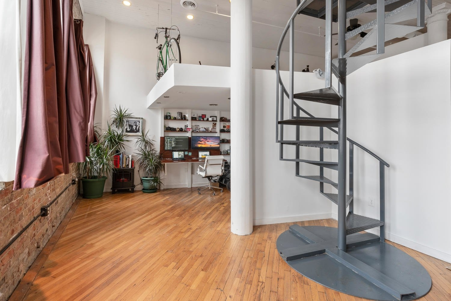 Photo 6 Of 13 In A Hip Atlanta Loft With A Rooftop Deck Asks 300K   Loft With Spiral Staircase   Small   Contemporary   Addition   Timber   New