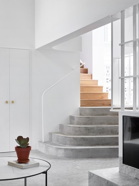 Dwell S Favorite 3 Modern Staircase Concrete Tread Wood Tread   Concrete And Wood Stairs   Concrete Wall   Separated   Concrete Building Interior   Glass Balustrade   White Riser Wood