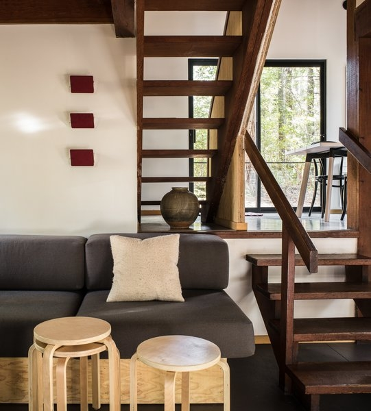 Photo 2 Of 7 In A Midcentury Cabin At California S Sea Ranch Gets | Mid Century Stair Rail | Basement | Fixer Up | U Shape | Plywood | Hand
