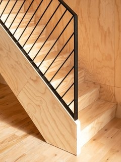 Best 60 Modern Staircase Wood Railing Design Photos And Ideas Dwell | Wooden Banisters And Railings | Stairwell | Small | Industrial | Balcony | Dark Walnut