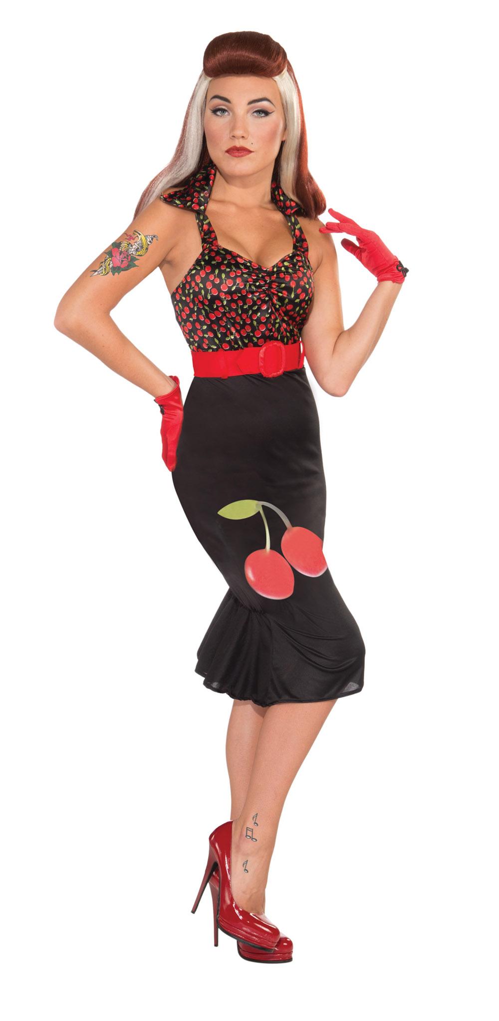 Black & Red Retro Rock Lady Fancy Dress Costume Sexy Pin ...