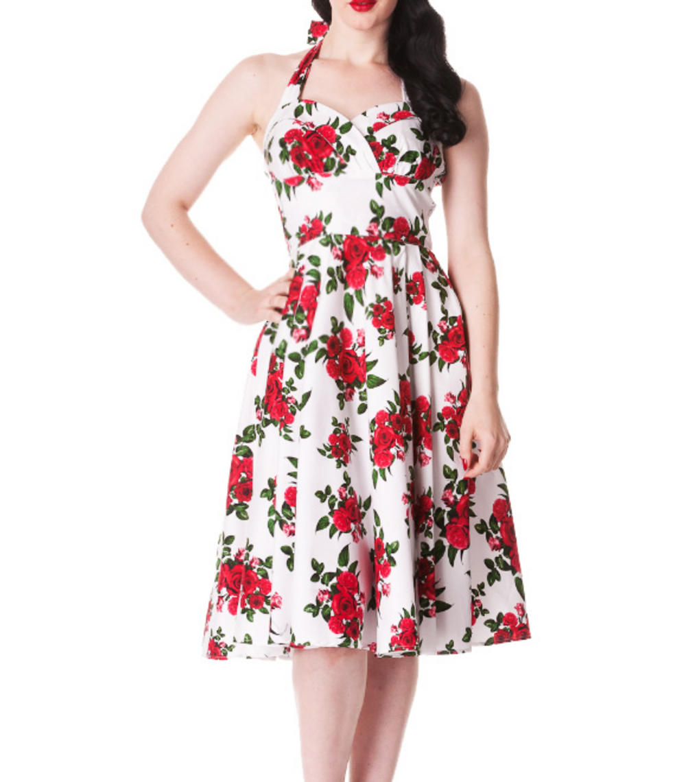 HELL BUNNY 50s DRESS Flowers CANNES White Rockabilly Pin ...