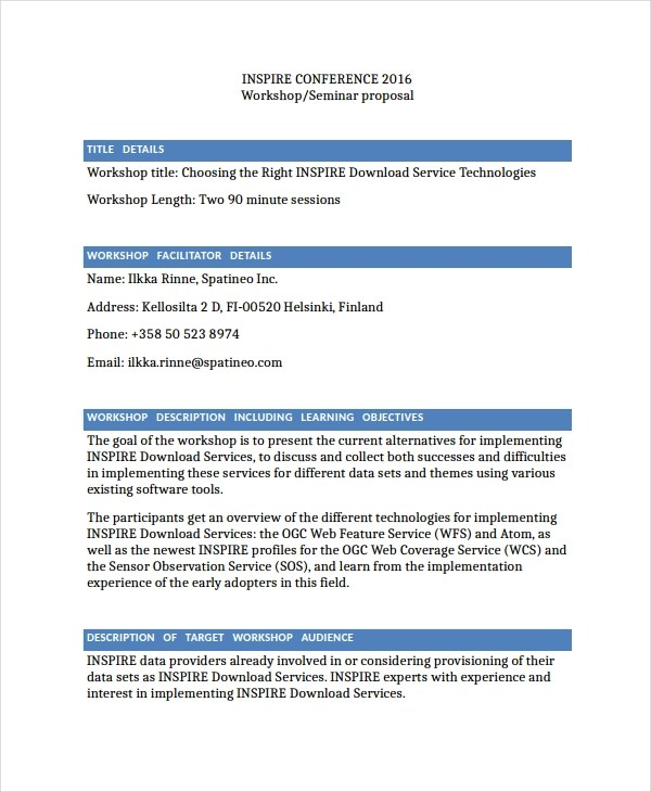11+ Workshop Proposal Examples - PDF, DOC | Examples