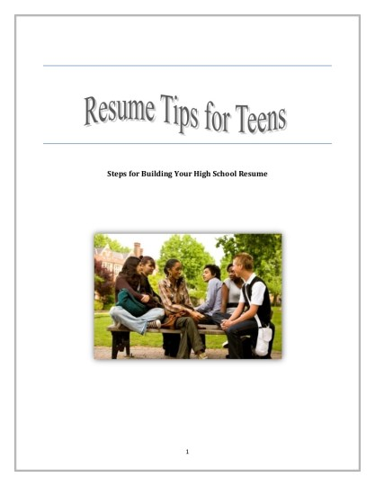 Resume Outline   Guidelines   Examples Resume Outline Tips for Teenagers