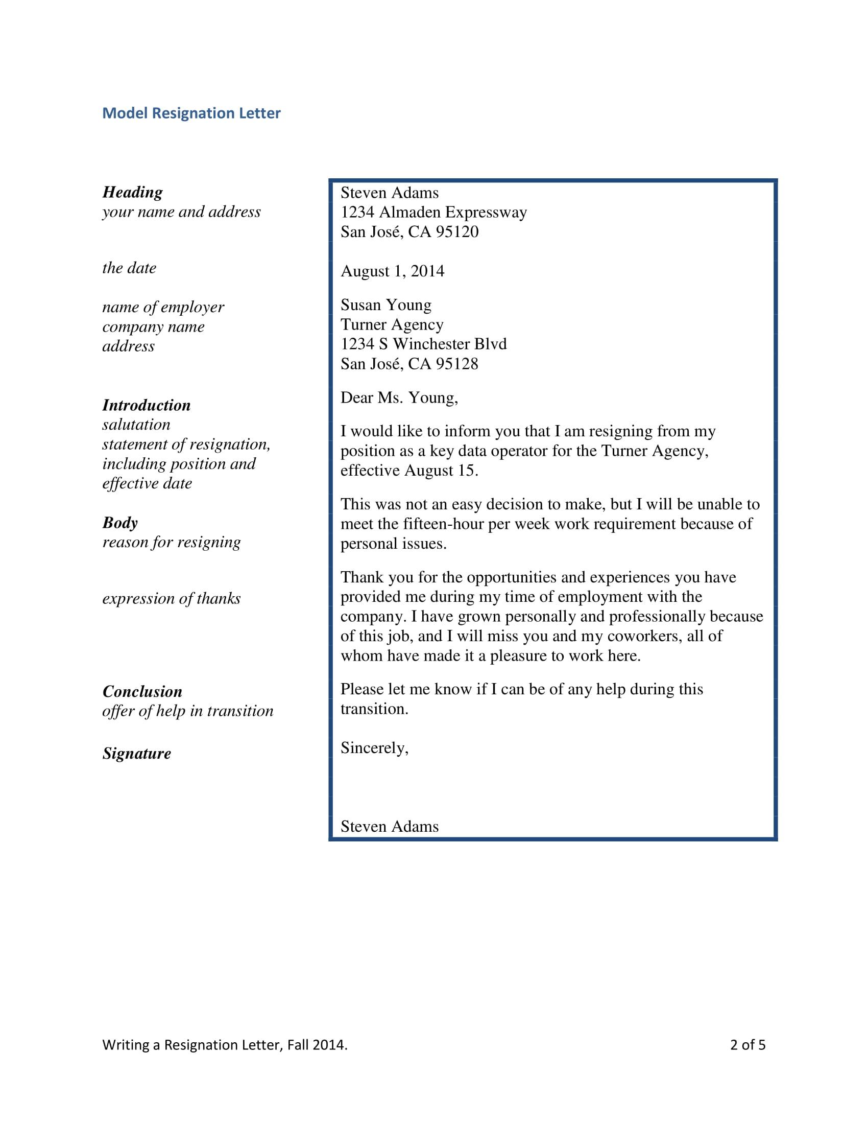 sample of simple resignation letter for agency resignation letter