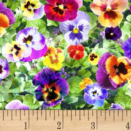 Hoffman Digital All Purpose Flowers Pansies Leaf   Discount Designer     zoom Hoffman Digital All Purpose Flowers Pansies Leaf