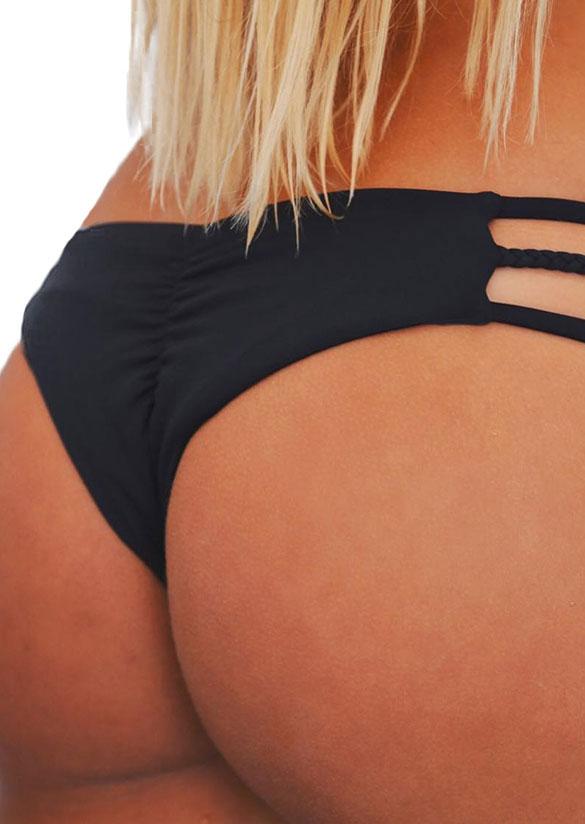 Solid Braid Ruched Bikini Panties Fairyseason