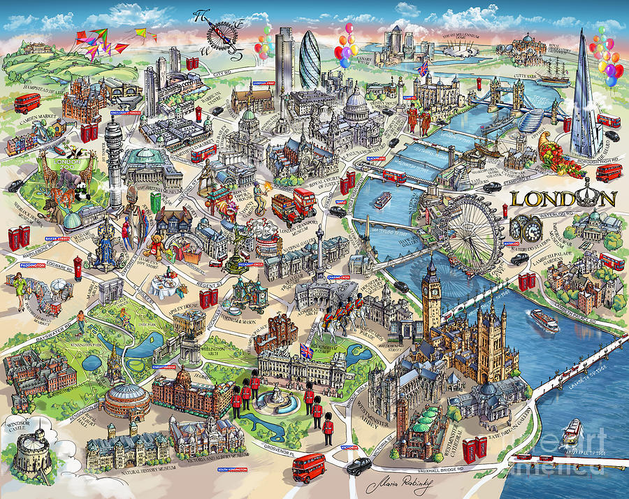 Illustrated Map Of London Painting by Maria Rabinky London Painting   Illustrated Map Of London by Maria Rabinky
