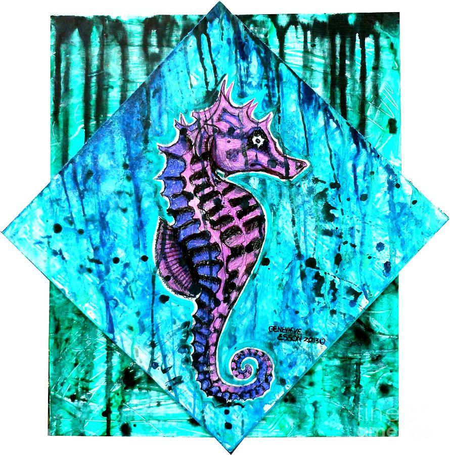 purple seahorse - 890×900