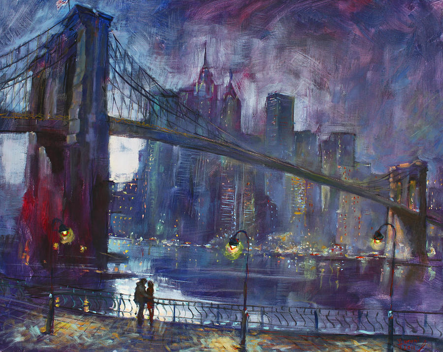Romance By East River Nyc Painting by Ylli Haruni Brooklyn Bridge Painting   Romance By East River Nyc by Ylli Haruni