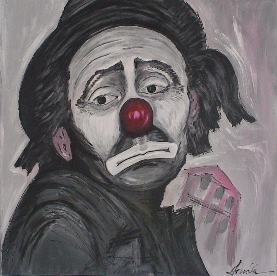 Sad Clown Painting by Maia Oliver Abstract Painting   Sad Clown by Maia Oliver
