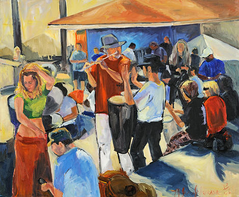 Huntington Beach Bongo Players Painting by Jane Johnson