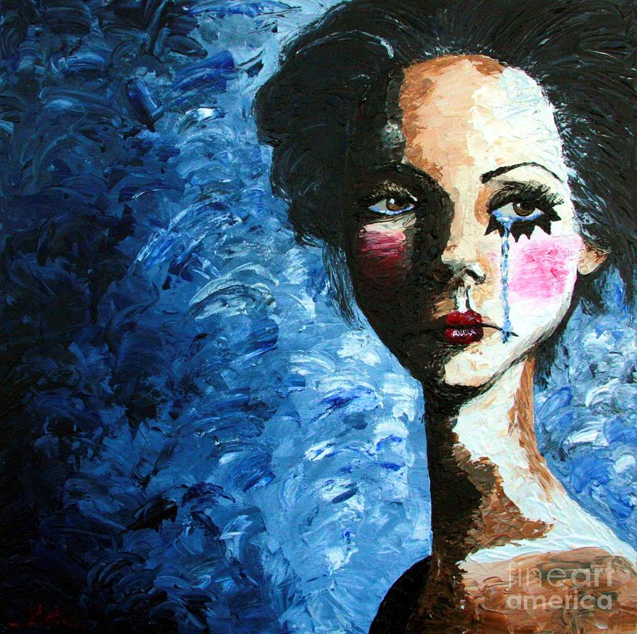 Sad Clown Girl Painting by Cris Motta Sad Painting   Sad Clown Girl by Cris Motta