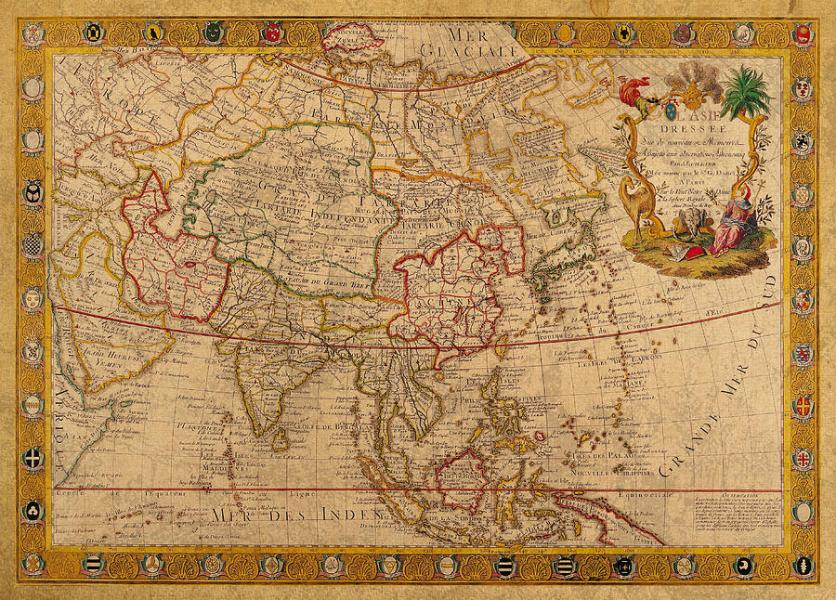Antique Map Of Asia 1732 Vintage On Worn Canvas Mixed Media by     Antique Mixed Media   Antique Map Of Asia 1732 Vintage On Worn Canvas by  Design Turnpike
