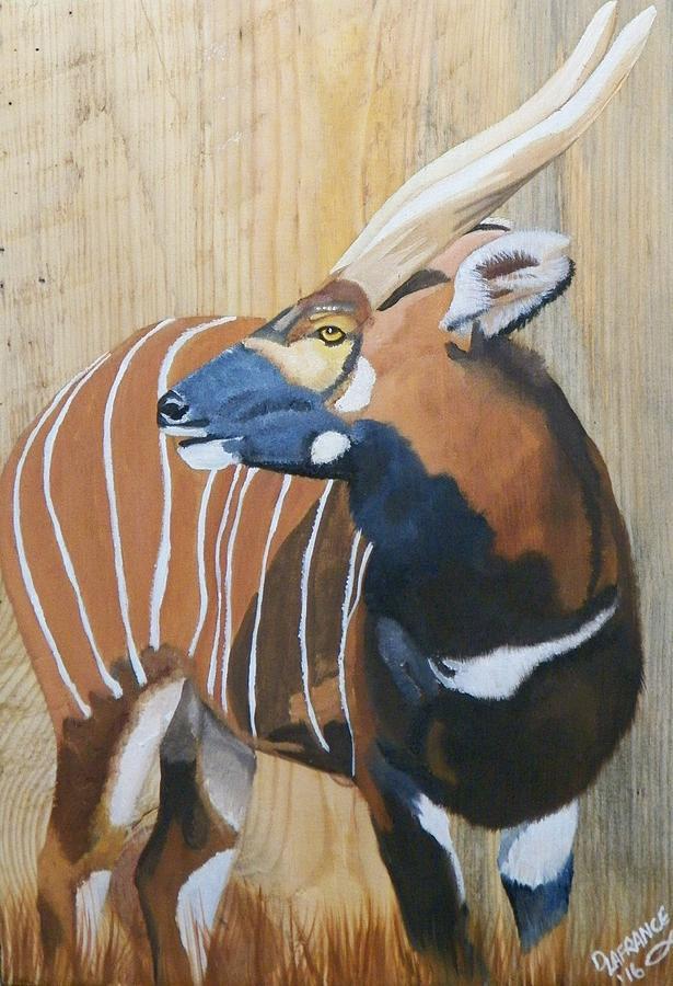 Bongo Antelope On Wood Painting by Debbie LaFrance