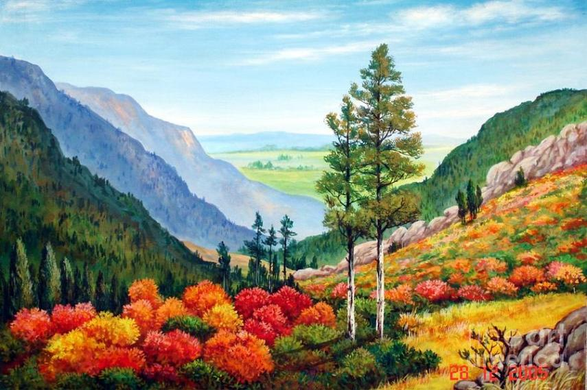 Flowers In Mountain Area Painting by Marimuthu Chinnathambi Landscape Painting   Flowers In Mountain Area by Marimuthu Chinnathambi