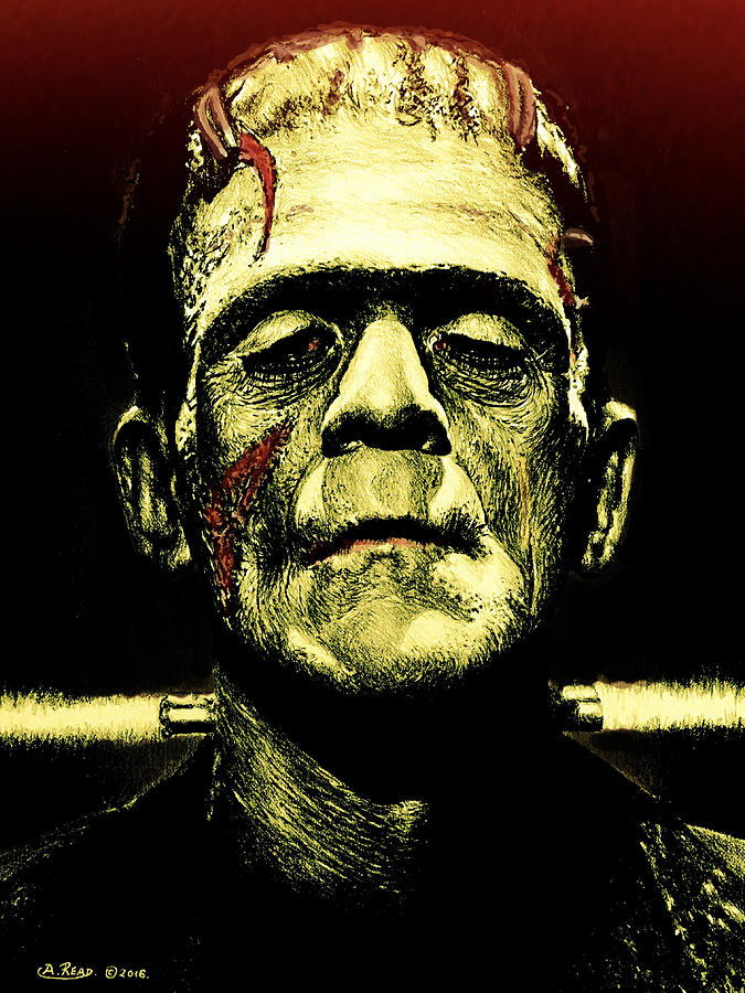 Frankenstein Monster Green Edit Painting by Andrew Read