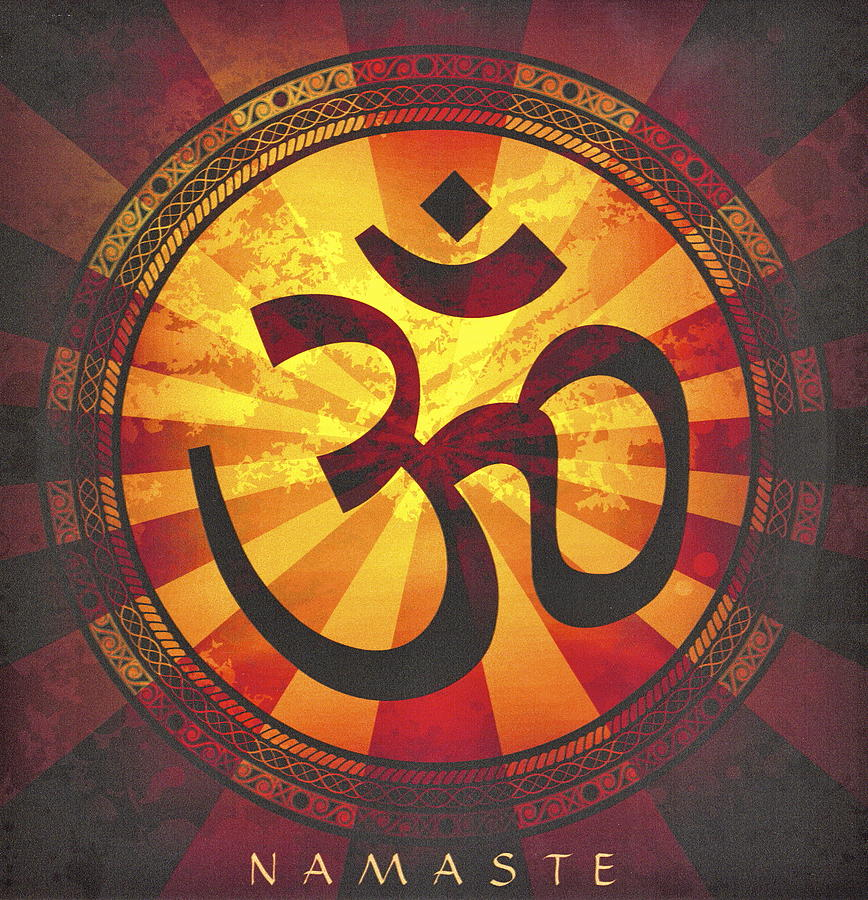 Namaste In Sunset Om Painting by Desiderata Gallery