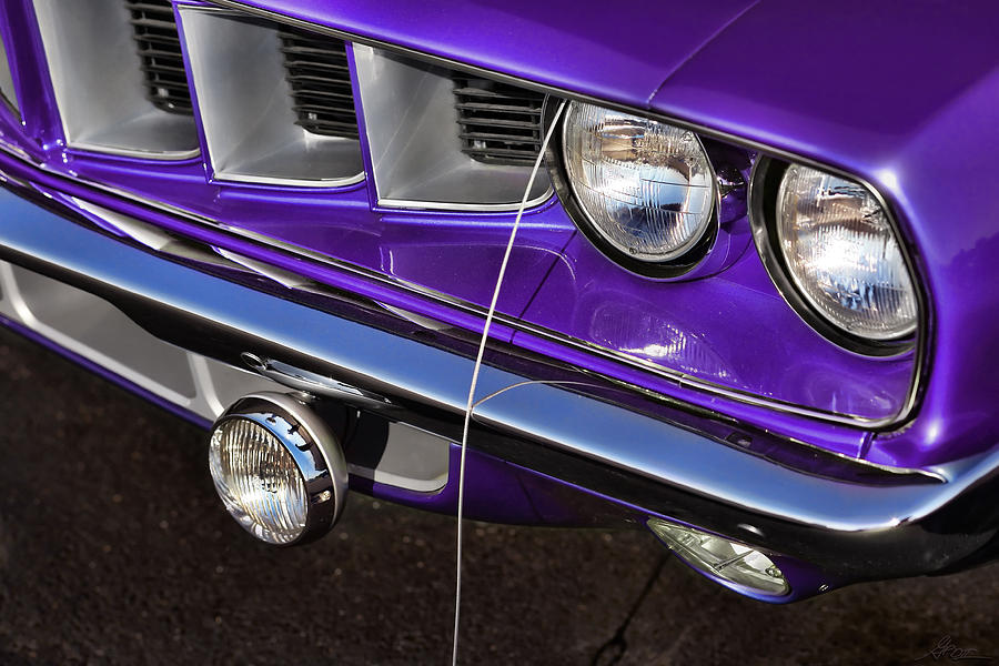 Plum Crazy 71 Cuda Headlight And Grille Digital Art By