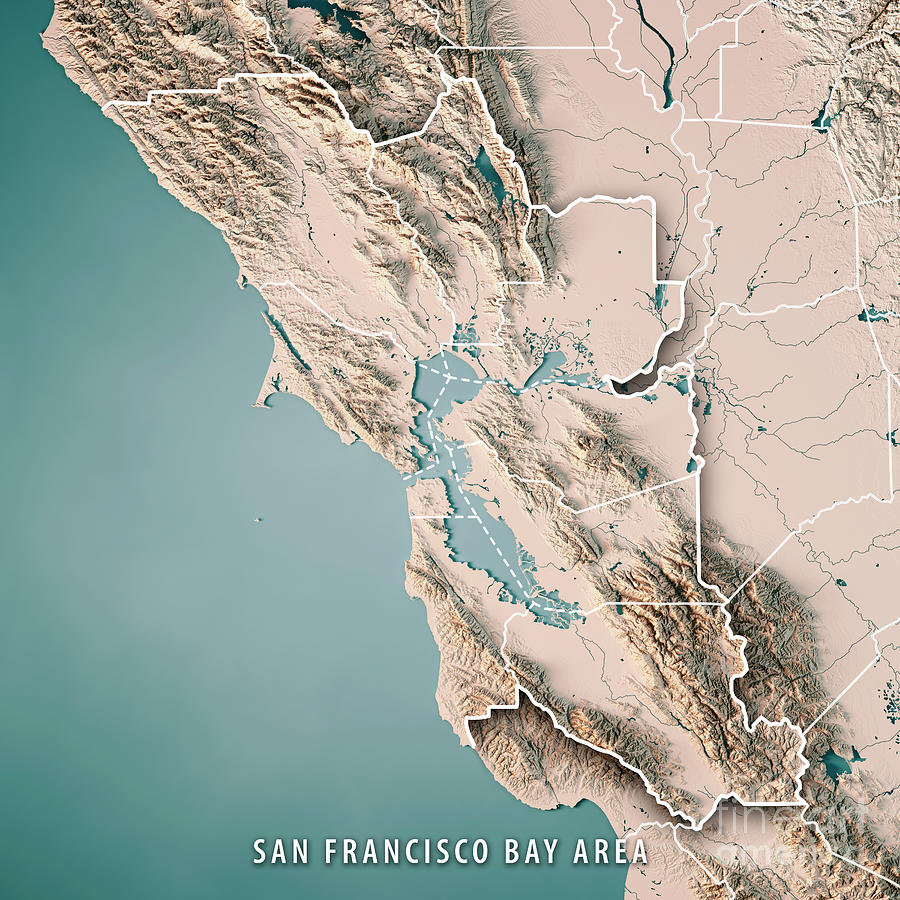 San Francisco Bay Area Usa 3d Render Topographic Map Neutral Digital     San Francisco Bay Area Digital Art   San Francisco Bay Area Usa 3d Render  Topographic Map
