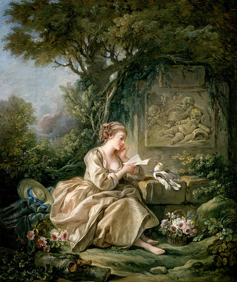 The Secret Message Painting by Francois Boucher French Artist Painting   The Secret Message by Francois Boucher
