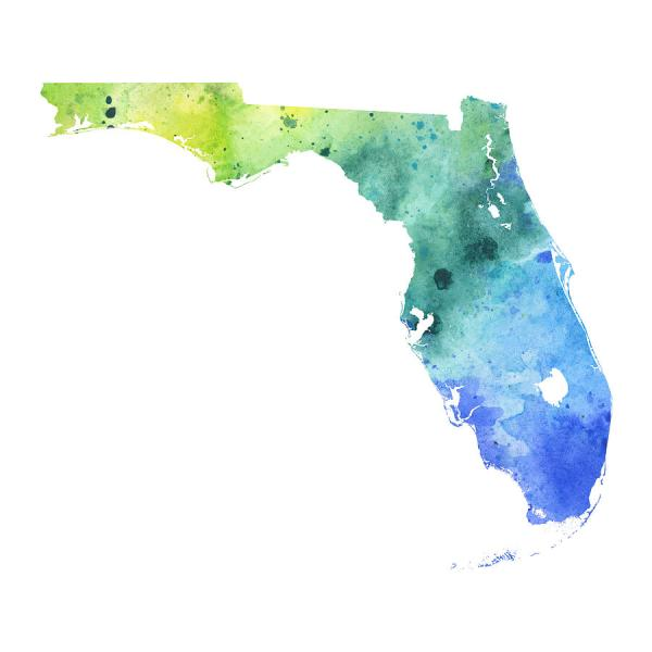 Watercolor Map Of Florida  In Blue And Green Painting by Andrea Hill Florida Painting   Watercolor Map Of Florida  In Blue And Green by Andrea  Hill